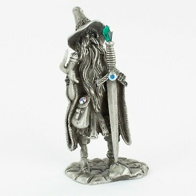 Wizard with Sword & Pipe   Vintage Fantasy Pewter Figure by KRM, Cast in the USA