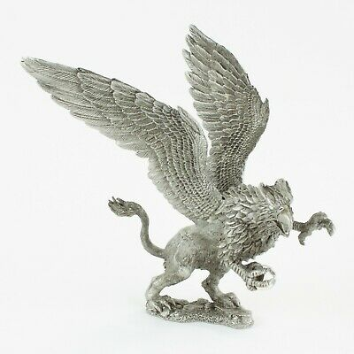 Rearing Griffin   Vintage Fantasy Pewter Figure by KRM   Cast in the USA