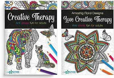 A4 Adult Colouring Books Therapy Patterns Set of 2 Anti-Stress Books P2193