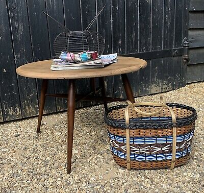 Vintage 1960's Ercol 308 Circular Drop Leaf Folding Occasional Table