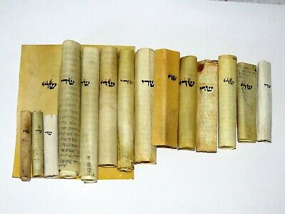 lot ancient 15 Mezuzahs Scrolls parchment 100 yrs old From Eastern Communities