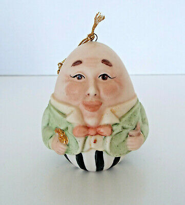 """Humpty Dumpty Ornament Signed Porcelain Bisque Hand Painted 3"""" Face Egg"""