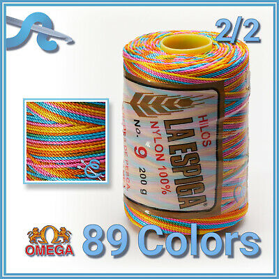 Espiga No.9 [Variegated] - 100% Nylon Omega Cord Thread for Knitting and Crochet