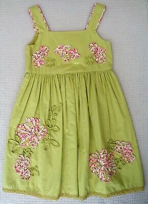 Marks & Spencer Girls Cotton Summer Dress Applique Floral Detail 5-6 years