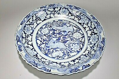 An Estate Chinese Fortune Flower-blossom Blue and White Fortune Porcelain Plate