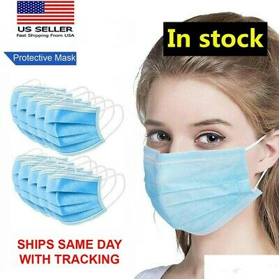 10/50 Face Mask Medical Surgical Dental Disposable 3-Ply Earloop Mouth Cover