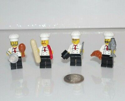 LEGO City Culinary School Chef Restaurant Cooks Minifigure Lot x4 w/ Food, Hats