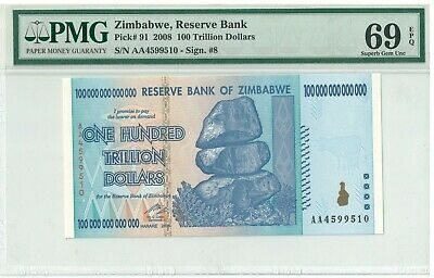 Pk 91 2008 Zimbabwe 100 Trillion Dollars Reserve Bank Pmg 69 Epq Superb Gem