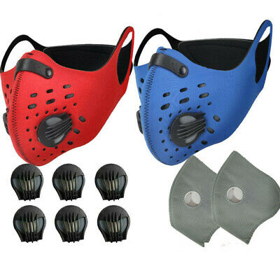 Diving Fabric Running Face Shield With Valves& Replaceable Filter Pads Gaskets