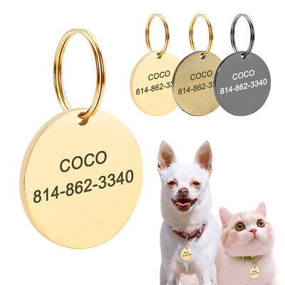 Custom Stainless Steel Personalized Pet ID Tag Custom Text Engraved on two Sides