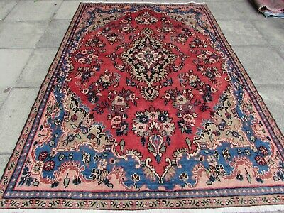 Vintage Worn Traditional Hand Made Rug Oriental Red Blue Wool Carpet 258x173cm