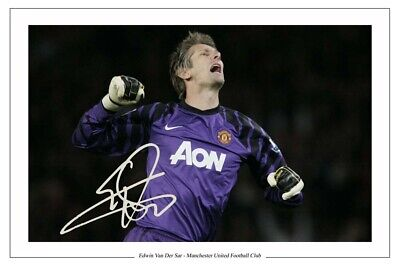 Edwin Van Der Sar Manchester United Signed Photo Print Autograph Soccer