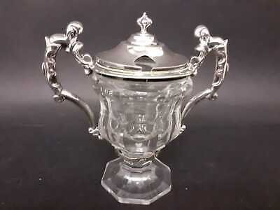 Beautiful French silver and cut glass mustard pot