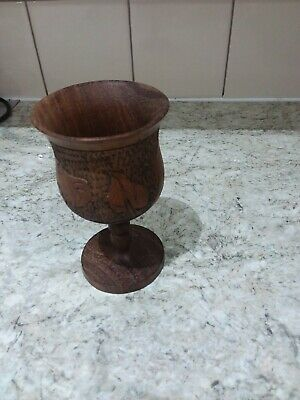 Wooden Goblet Africa Hippo  & Rhino Hand Carved & Turned Vintage.14 cms Tall.