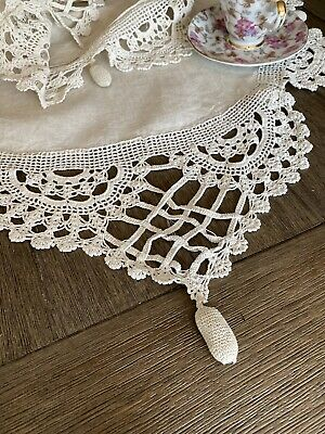 Antique Victorian Handmade Linen Runner With Cotton Crocheted Lace
