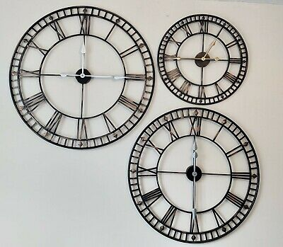 Large Numerical Antique Wall Clock Indoor/Outdoor Rustic Iron Metal Wall Clock