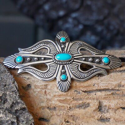 NAVAJO-TURQUOISE & STERLING SILVER PIN by LEE CHARLEY-NATIVE AMERICAN