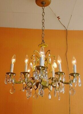 Antique Spanish Ornate Brass Chandelier 10 Lights 5 arms Lots of prisms