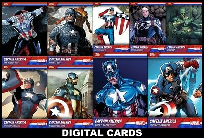 Topps Marvel Collect CAPTAIN AMERICA COSTUME EVOLUTION [9 CARD SET] FAST!