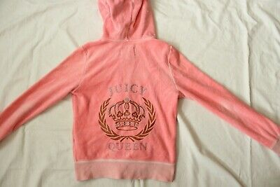 Juicy Couture Kapuzen-Pullover Gr.116-122cm Frottee rosa hoodie mit Strass Pulli