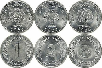 Tunisia 1-2-5 Millim 1960 SET *BRILLIANT UNCIRCULATED*