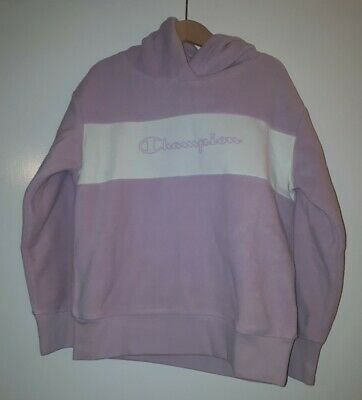 CHAMPION Girls Pink And Cream Fleece Hoodie * AGE 9/10 YEARS OLD* NEW WITH TAGS