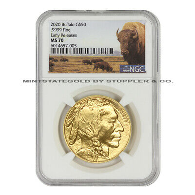 2020 $50 Gold Buffalo NGC MS70 Early Releases American 1oz 24KT Bullion w/ Bison