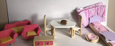 TARGET Pink Wooden Barbie Doll Bed Kitchen Living Room Chair Table Sofa Set Guc