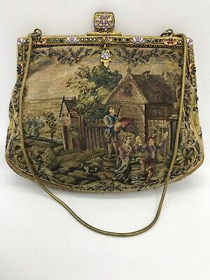 Antique French Petit Point Castle & Country Scene w Floral Embroidered Purse