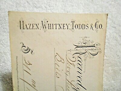 1878 Hazen, Whitney, Todds & Co. of New York Receipt from Beebe & Tillinghast Co