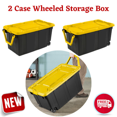 Rolling Large Storage Box Plastic Stackable Container Tote Bin Box Case with Lid