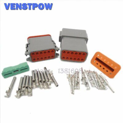 5Sets Deutsch DT06/DT04 12Pin Waterproof Electrical Wire Connector Plug 22-16AWG