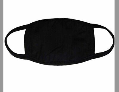 Adult medium Plain Black face Nose mouth Cover Made in the UK