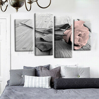 4 Panel Painting Rose Floral Canvas Wall  Picture Unframed UK Set Decor Prints