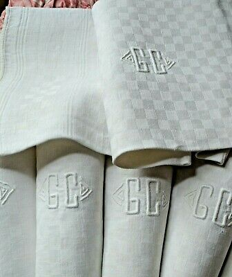 6 antique French pure linen checker damask weave dinner napkins, GC  monograms