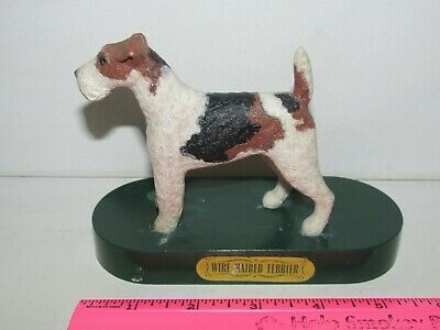 """Vintage 4"""" Plastic Wire Haired Fox Terrier Dog Figure Figurine Green Base Stand"""