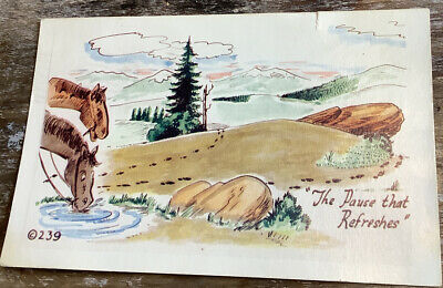 Kromekolor Vintage Comic Postcard 1954 Horses The Pause That Refreshes