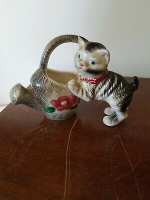 Vintage Cute Porcelain Cat With Water Sprinkling Can Planter