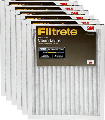 Filtrete AC Furnace Air Filter, MPR 300, Clean Living Basic Dust, 6-Pack 14x24x1