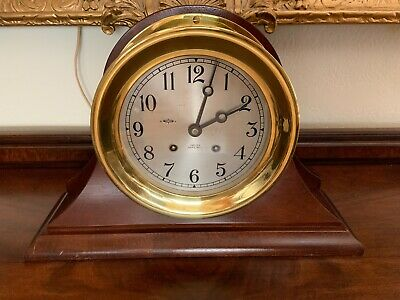 """Chelsea Antique Ships Bell Clock 6"""" Dial 1954 Fully Restored 14"""" Mahogany Stand"""