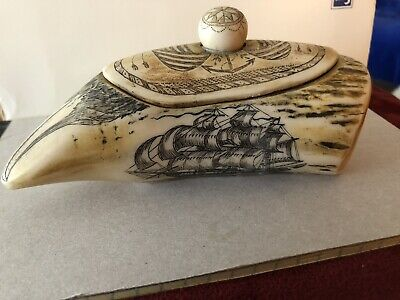 EAGLE'S HEAD SCRIMSHAW WHALES TOOTH  BOX - Replica Faux Resin