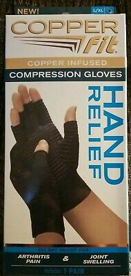 COPPER FIT Infused Compression Gloves Arthritis Pain & Joint Swelling LG-XLarge