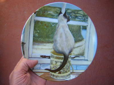 """zoe stokes 8 5/8"""" WAITING CAT PLATE 1982 american artists ZOE'S CATS 1066G mint"""