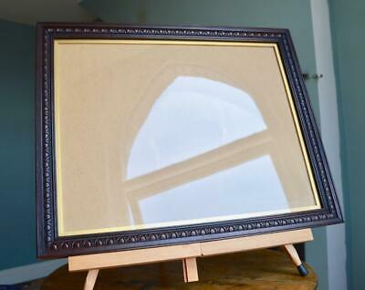 "Superb Antique Edwardian Carved Oak Picture Frame 17"" X 13"" Rebate Arts & Crafts"