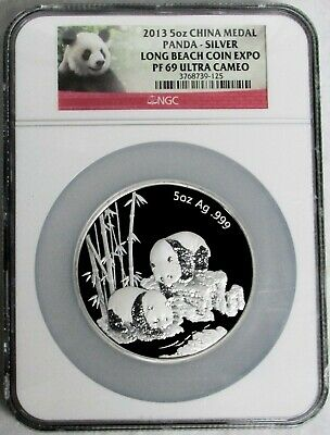 2013 Silver China 5 Oz Proof Long Beach Coin Expo Panda Ngc Pf 69 Uc