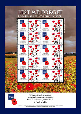 2008 BC-169 10x1st Lest We Forget British Legion Smiler Sheet UM MNH bbwf