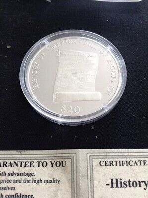 2000 Republic of Liberia Bill of Rights Silver $20 Proof #01596 Uncirculated COA