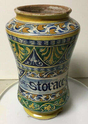 Antique Decorated Ceramic Maiolica Apothecary Medicine Jar Storace Chalamita