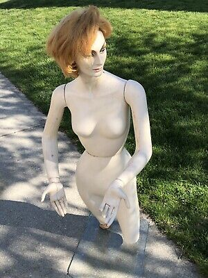 """Vintage 1975 Female Mannequin, Glass Stand, Hands/Arms, Corsillo Wig, 60"""" Tall"""