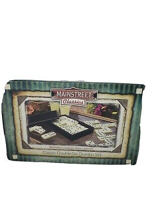 Mainstreet Classics Double Six Domino Set GLD Products Leatherette Case NIB